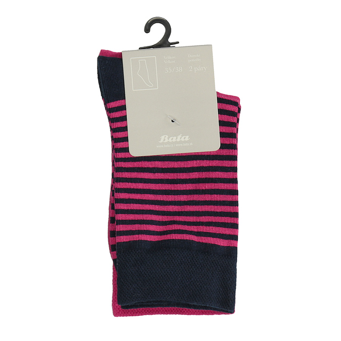Balení dvou párů dámských ponožek bata, růžová, 919-9653 - 13