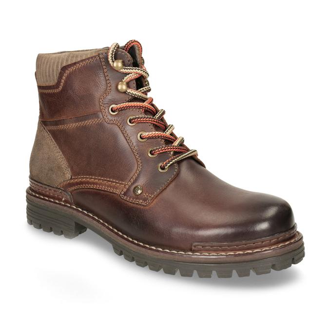 Kožená zimní obuv kotníčková bata, hnědá, 896-4661 - 13