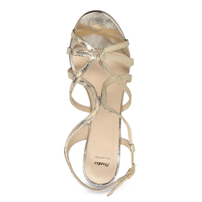Zlaté společenské sandály z kůže bata, 726-8648 - 17