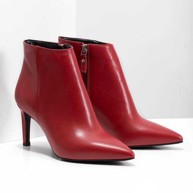 Kožené kotníčkové kozačky červené bata, červená, 794-5651 - 26