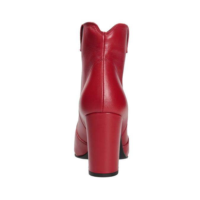 Červené kotníčkové kozačky z kůže bata, červená, 794-5652 - 15