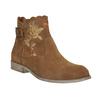 Kotníčkové kožené kozačky s výšivkou bata, hnědá, 596-4686 - 13