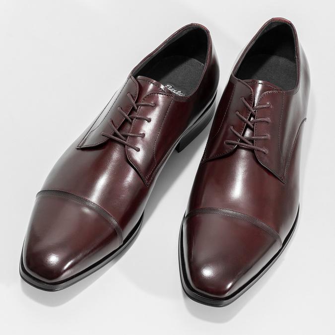 Vínové kožené polobotky bata, červená, 826-5851 - 16