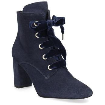 Kotníčková kožená obuv s mašlí bata, modrá, 793-9613 - 13