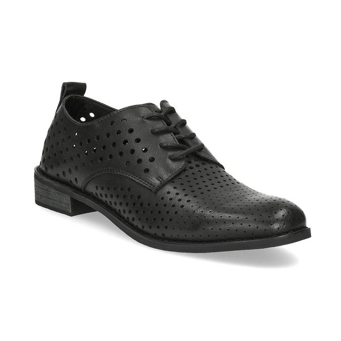 Dámské polobotky s výraznou perforací bata, černá, 521-6610 - 13