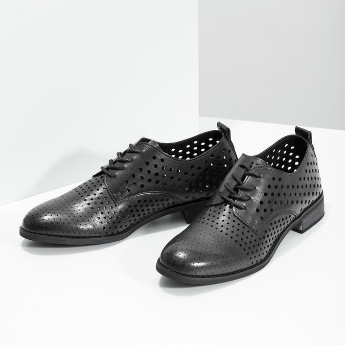 Dámské polobotky s výraznou perforací bata, černá, 521-6610 - 16