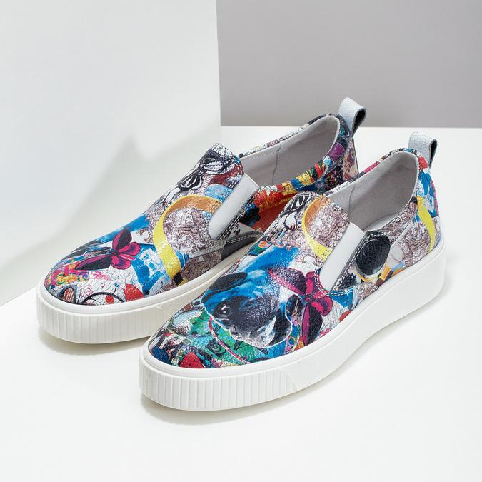 Kožená dámská Slip-on obuv s potiskem bata, 536-2608 - 26