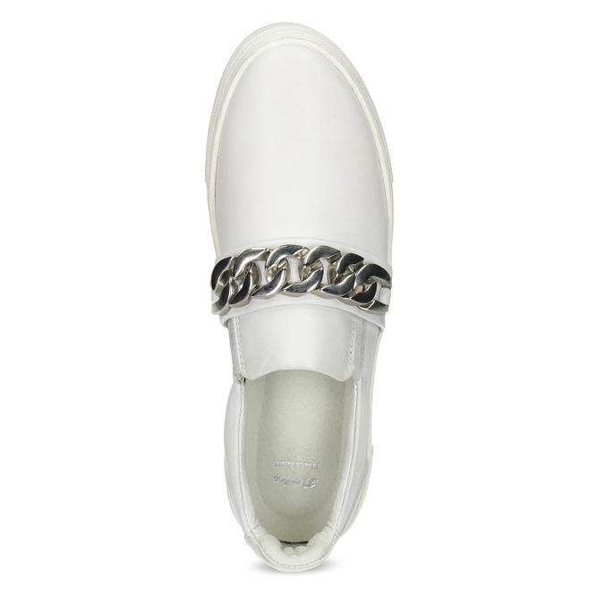 Kožené dámské Slip-on s řetízkem bata, bílá, 514-1601 - 17