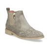 Kožené kotníčkové boty s kovovou aplikací bata, béžová, 596-2690 - 13