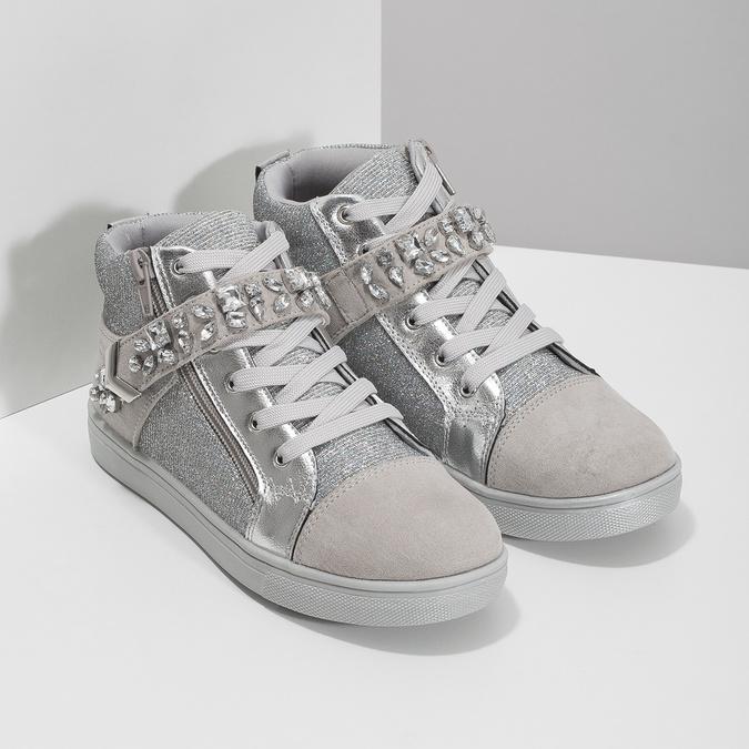 Stříbrné dívčí tenisky s kamínky mini-b, stříbrná, 329-2301 - 26
