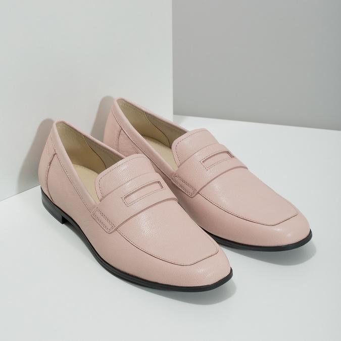 Růžové kožené Penny Loafers vagabond, růžová, 514-8094 - 26