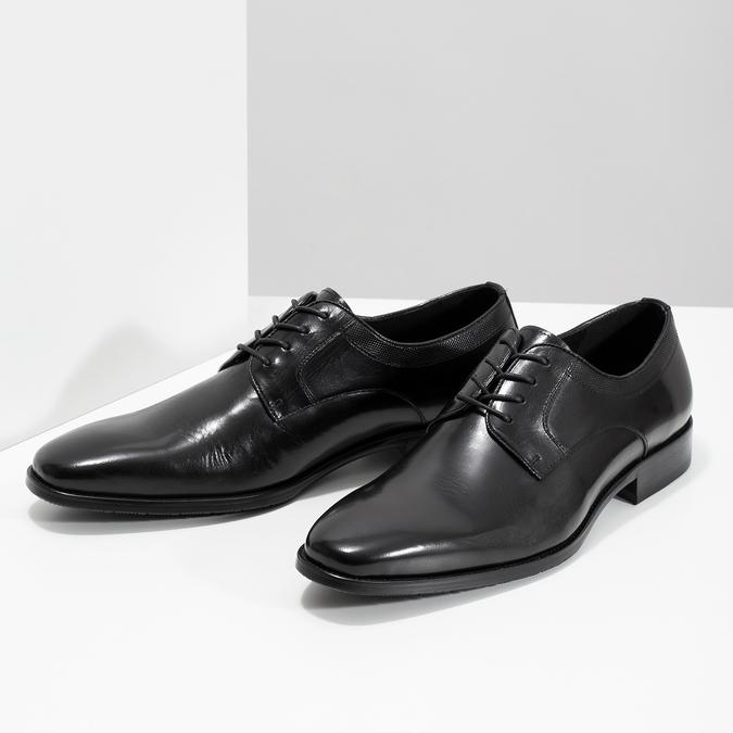Černé kožené Derby polobotky bata, černá, 824-6981 - 16