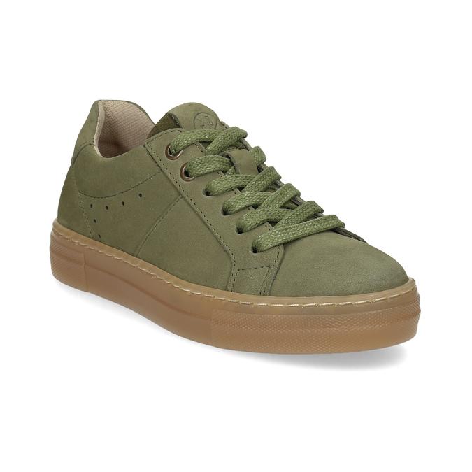 Dětské zelené kožené tenisky mini-b, khaki, 416-7601 - 13