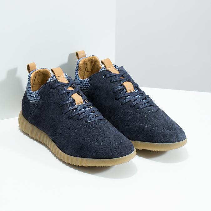 Pánské tenisky z broušené kůže modré bata, 843-9634 - 26