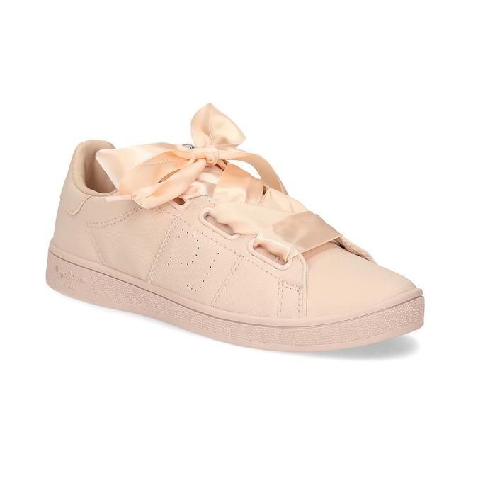Růžové tenisky se saténovou mašlí pepe-jeans, růžová, 541-5076 - 13