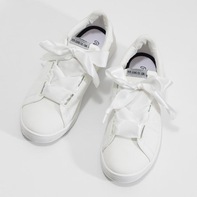 Bílé tenisky se saténovou mašlí pepe-jeans, bílá, 541-1076 - 16