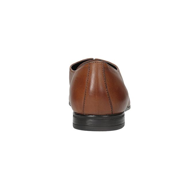 Hnědé kožené Derby polobotky se strukturou bata, hnědá, 826-3945 - 15