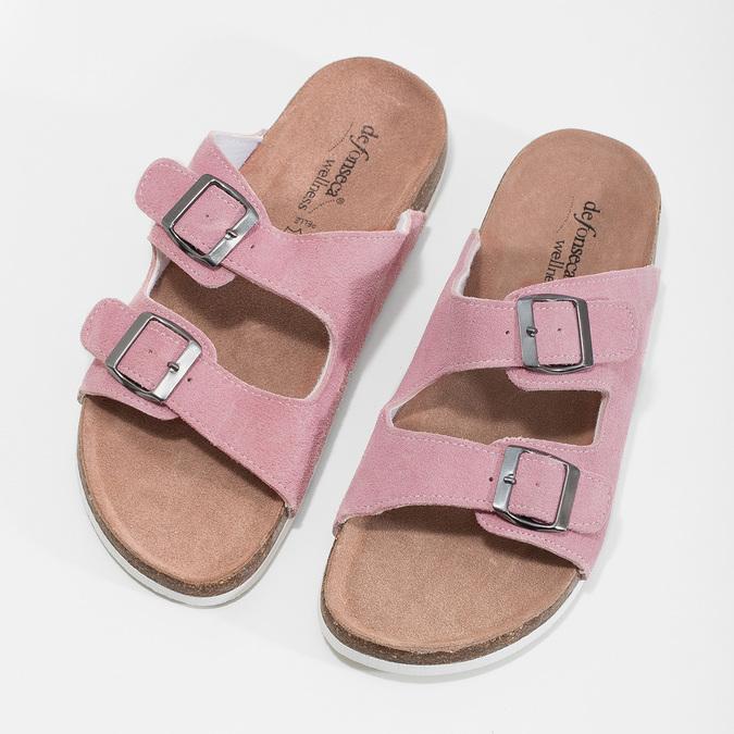 Kožená domácí obuv dámská de-fonseca, růžová, 573-5621 - 16