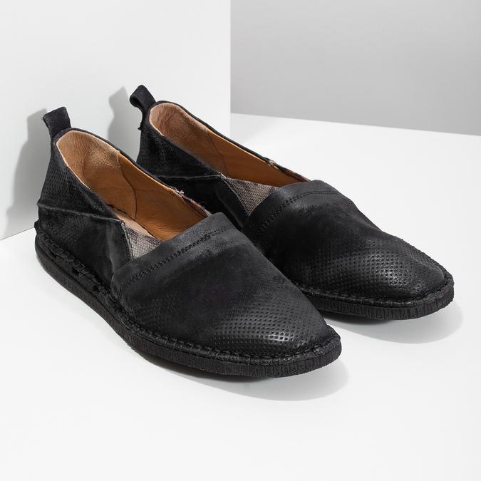 Ležérní kožené Slip-on boty a-s-98, černá, 816-6058 - 26