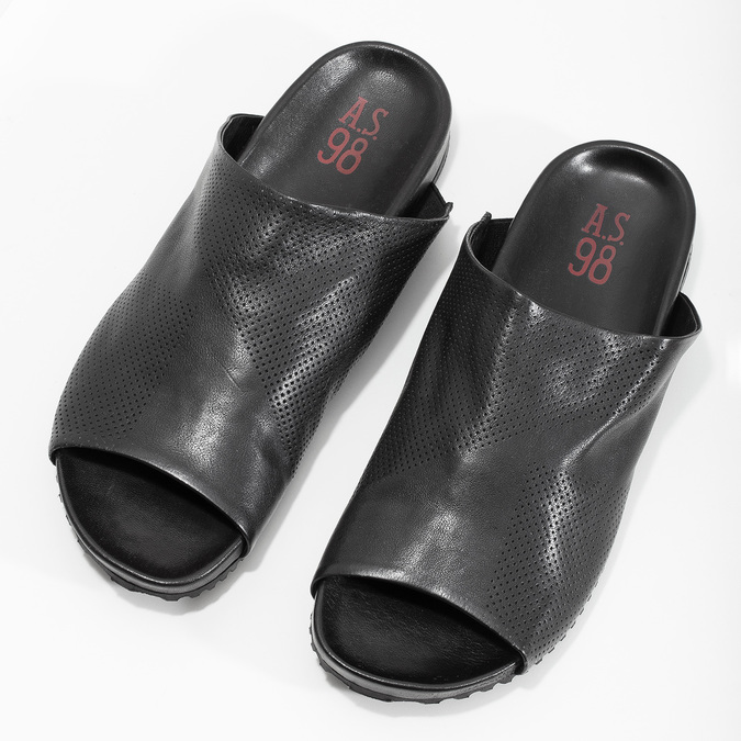 Pánské kožené nazouváky s perforací a-s-98, černá, 876-6012 - 16