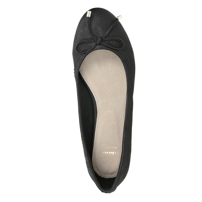 Černé dámské baleríny s mašličkou bata, černá, 521-6611 - 17