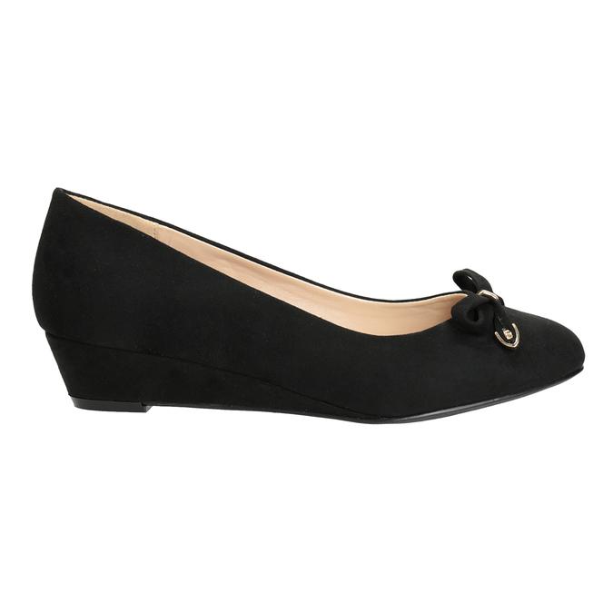 Lodičky na klínku s mašlí bata, černá, 629-6633 - 16