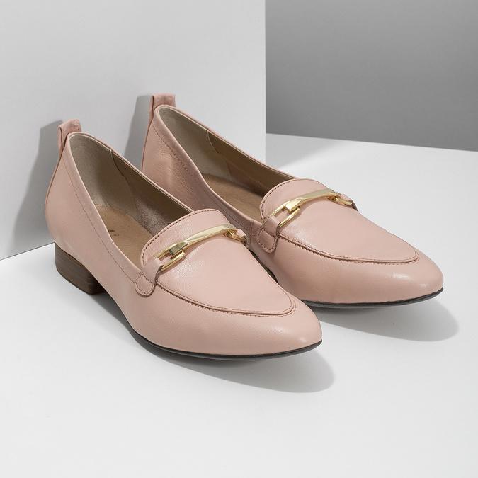 Kožené dámské mokasíny růžové bata, 516-5619 - 26