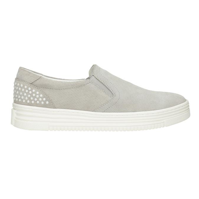 Kožená Slip-on obuv s perforací bata, šedá, 533-2600 - 26