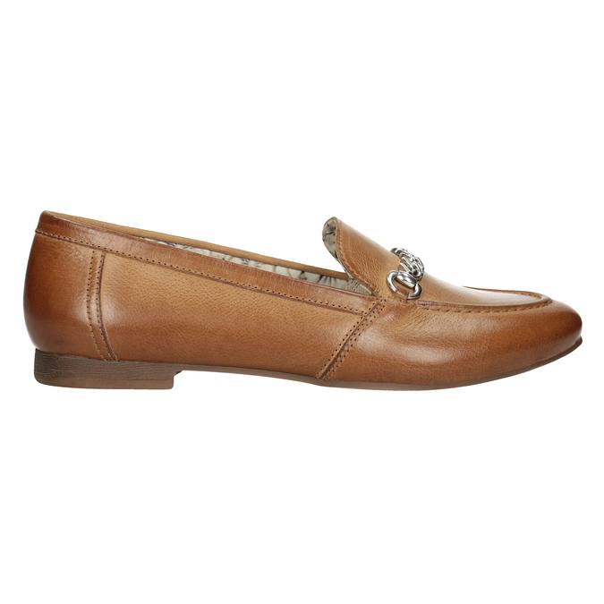 Hnědé kožené mokasíny s přezkou bata, hnědá, 516-3615 - 26