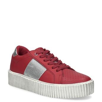 Červené kožené tenisky na flatformě bata, červená, 546-5616 - 13