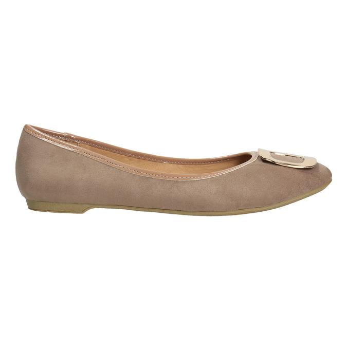 Béžové baleríny se zlatou sponou bata, 529-8638 - 26