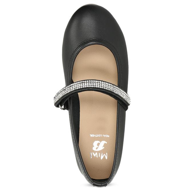Černé dívčí kožené baleríny se štrasovým páskem mini-b, černá, 326-6601 - 17