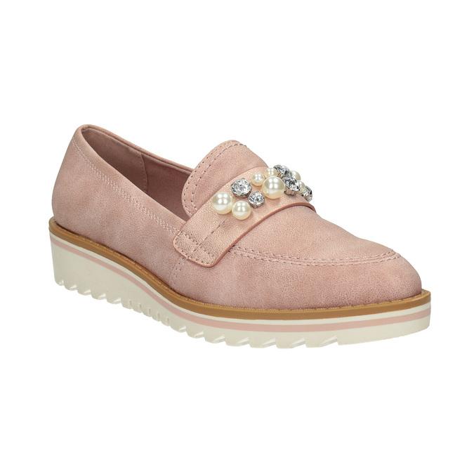 Mokasíny na platformě s perličkami bata, růžová, 511-5610 - 13
