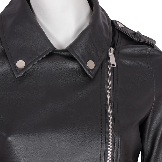 Koženková bunda s límcem a zipy bata, černá, 971-6198 - 16