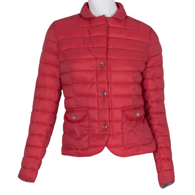Červená prošívaná bunda s límečkem bata, červená, 979-5182 - 13