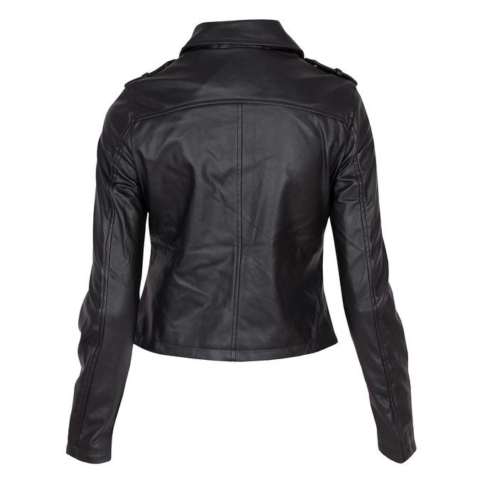 Koženková bunda s límcem a zipy bata, černá, 971-6198 - 26