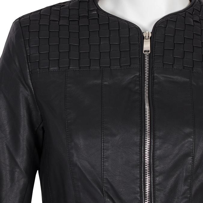 Koženková dámská bunda bez límce bata, černá, 971-6207 - 16