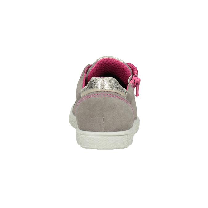 Kožené dívčí tenisky s růžovými detaily mini-b, béžová, 323-5601 - 16