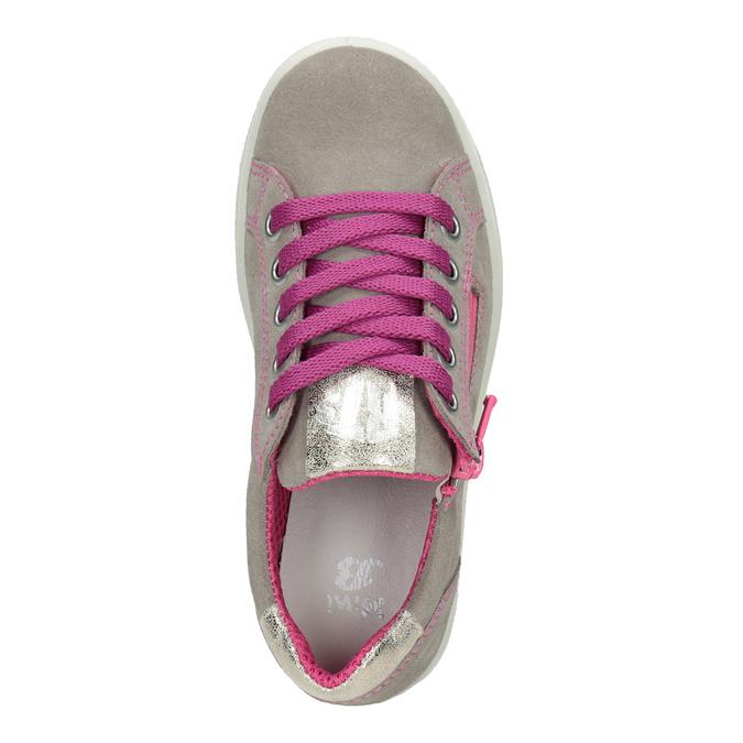 Kožené dívčí tenisky s růžovými detaily mini-b, béžová, 323-5601 - 15