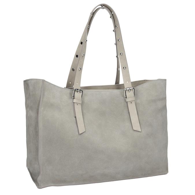 Kožená šedá kabelka se cvočky bata, šedá, 963-2194 - 13