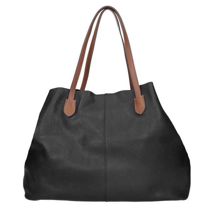 Černá kožená kabelka s hnědými uchy bata, černá, 964-6293 - 16