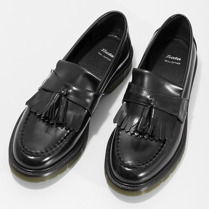 Kožené pánské mokasíny na výrazné podešvi bata, černá, 814-6176 - 16