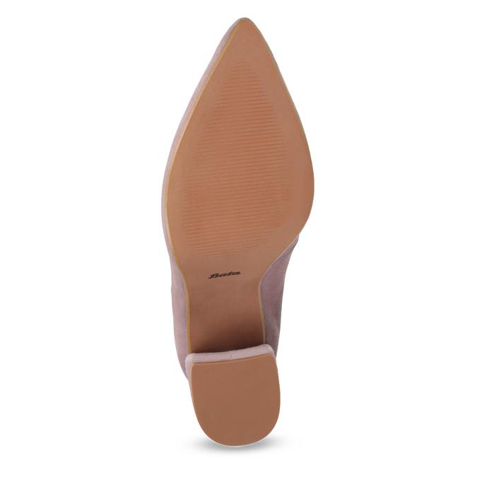 Kožené lodičky na asymetrickém podpatku bata, růžová, 723-5608 - 18