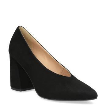 Černé lodičky do špičky z broušené kůže bata, černá, 723-6608 - 13