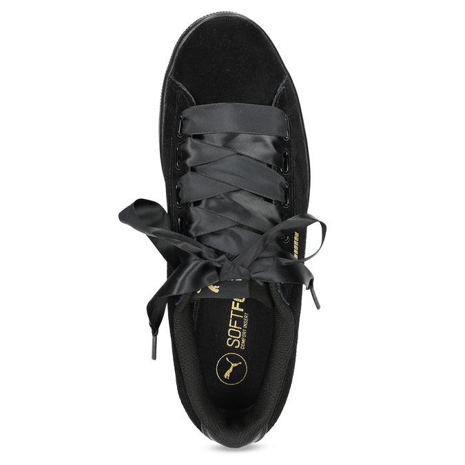 Kožené tenisky s mašli černé puma, černá, 503-6738 - 17