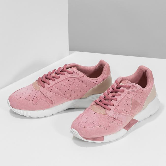 Růžové dámské tenisky z broušené kůže le-coq-sportif, růžová, 503-5309 - 16
