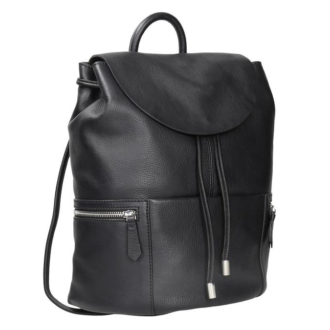 Černý kožený batoh se zipy bata, černá, 964-6259 - 13