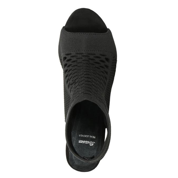 Sandály na podpatku s pleteným svrškem bata, černá, 729-6617 - 17