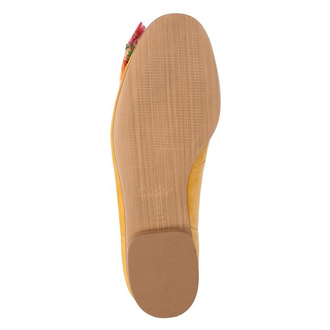 Kožené baleríny s barevnou mašlí gabor, žlutá, 523-8018 - 17
