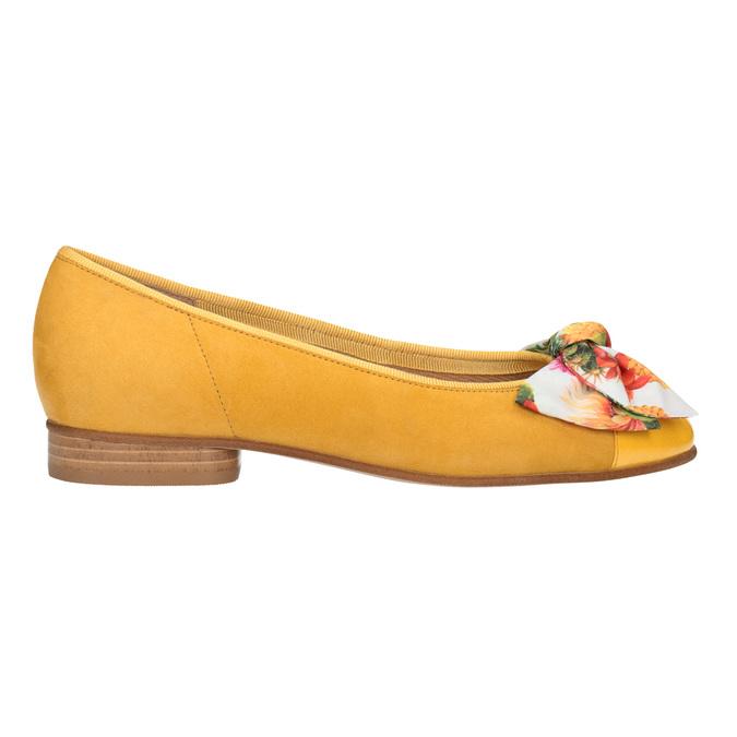 Kožené baleríny s barevnou mašlí gabor, žlutá, 523-8018 - 26